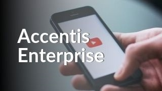 Hand holding phone with YouTube watching an intro to Accentis Enterprise